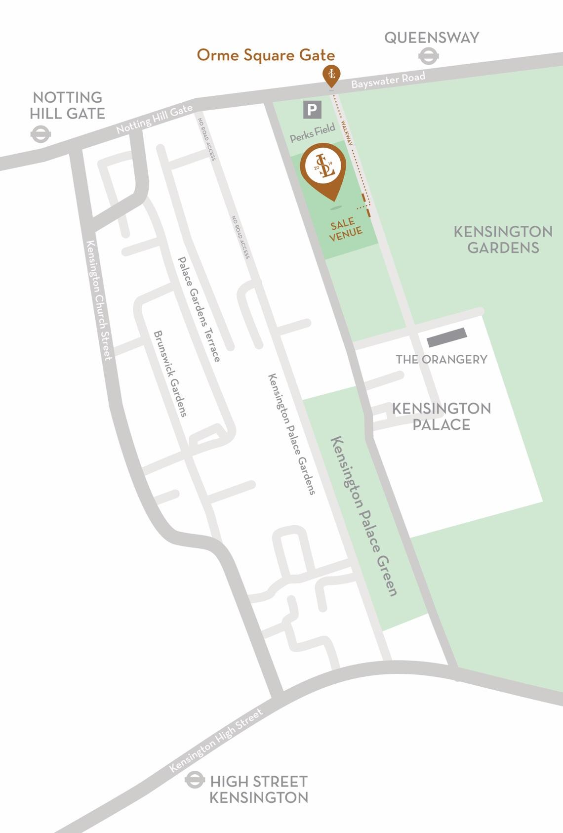Map of Kensington Palace Gardens